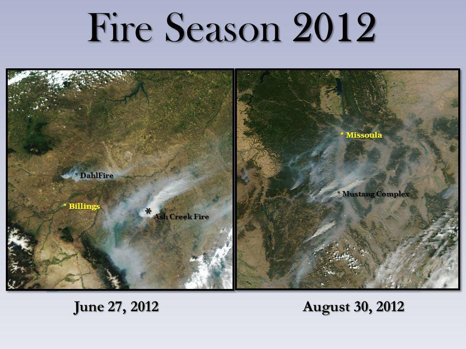 Fire Season 2012 June 27, 2012 August 30, 2012 * Billings * Missoula * Ash Creek Fire * DahlFire * Mustang Complex