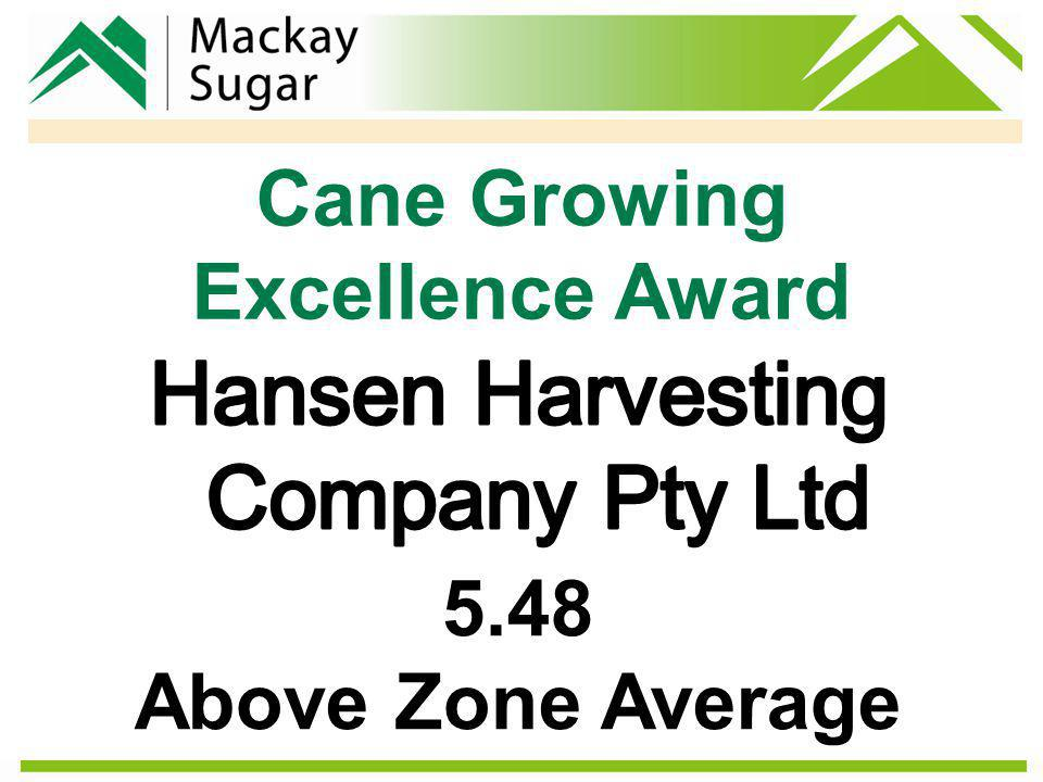 Cane Growing Excellence Award 5.48 Above Zone Average