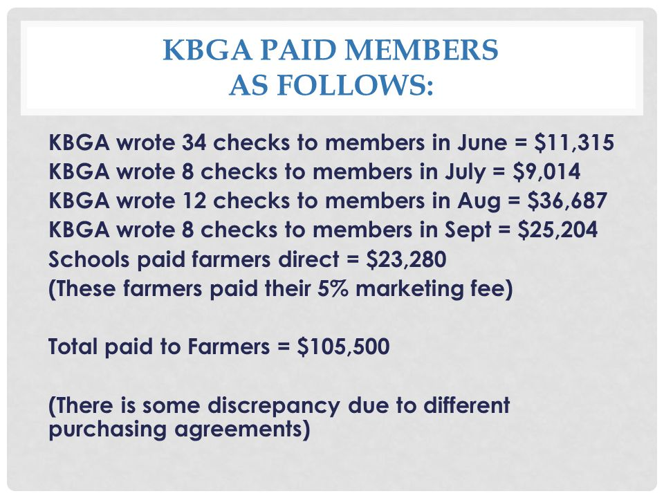 KBGA PAID MEMBERS AS FOLLOWS: KBGA wrote 34 checks to members in June = $11,315 KBGA wrote 8 checks to members in July = $9,014 KBGA wrote 12 checks to members in Aug = $36,687 KBGA wrote 8 checks to members in Sept = $25,204 Schools paid farmers direct = $23,280 (These farmers paid their 5% marketing fee) Total paid to Farmers = $105,500 (There is some discrepancy due to different purchasing agreements)