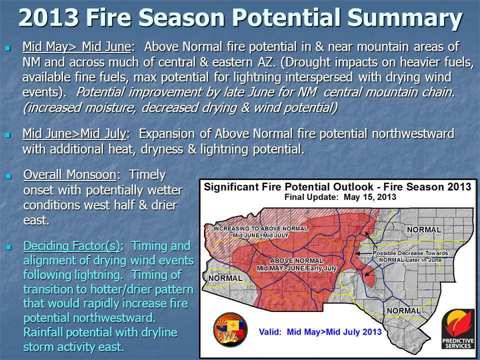 2013 Fire Season Potential Summary Mid May> Mid June: Above Normal fire potential in & near mountain areas of NM and across much of central & eastern AZ.