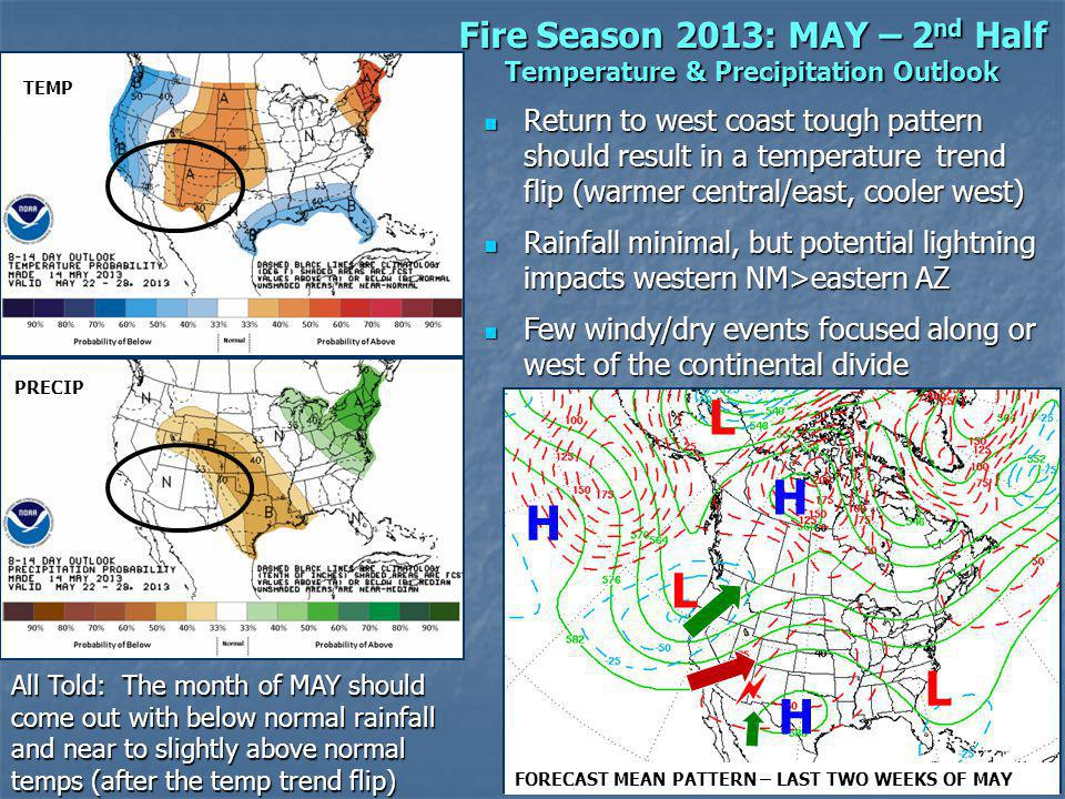 Fire Season 2013: MAY – 2 nd Half Temperature & Precipitation Outlook Return to west coast tough pattern should result in a temperature trend flip (warmer central/east, cooler west) Return to west coast tough pattern should result in a temperature trend flip (warmer central/east, cooler west) Rainfall minimal, but potential lightning impacts western NM>eastern AZ Rainfall minimal, but potential lightning impacts western NM>eastern AZ Few windy/dry events focused along or west of the continental divide Few windy/dry events focused along or west of the continental divide TEMP PRECIP L L L H H H FORECAST MEAN PATTERN – LAST TWO WEEKS OF MAY All Told: The month of MAY should come out with below normal rainfall and near to slightly above normal temps (after the temp trend flip)