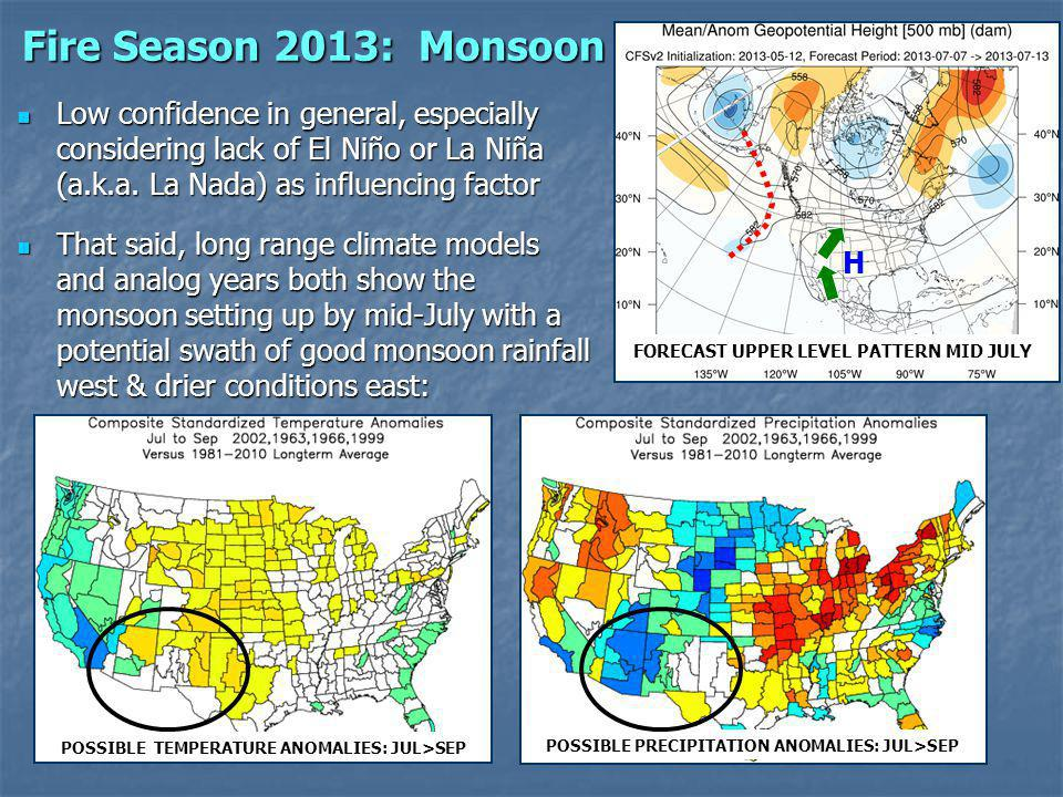 Fire Season 2013: Monsoon Low confidence in general, especially considering lack of El Niño or La Niña (a.k.a.