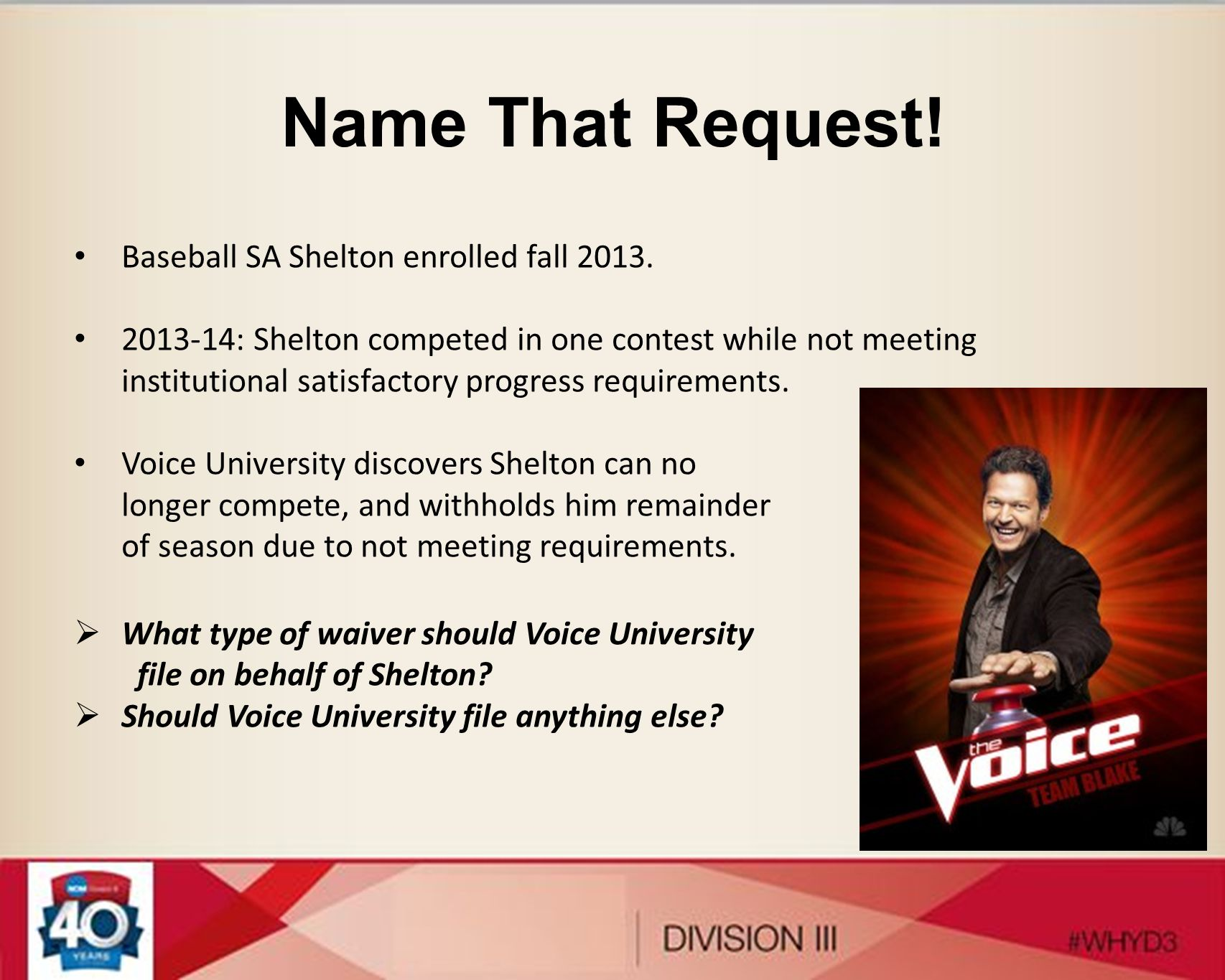 Name That Request! Baseball SA Shelton enrolled fall 2013. 2013-14: Shelton competed in one contest while not meeting institutional satisfactory progr