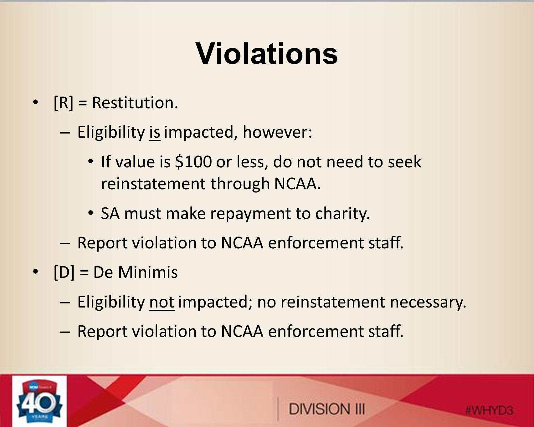 Violations [R] = Restitution.