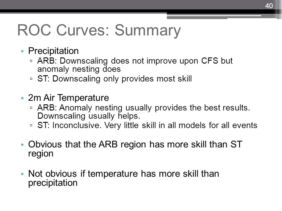 ROC Curves: Summary Precipitation ARB: Downscaling does not improve upon CFS but anomaly nesting does ST: Downscaling only provides most skill 2m Air
