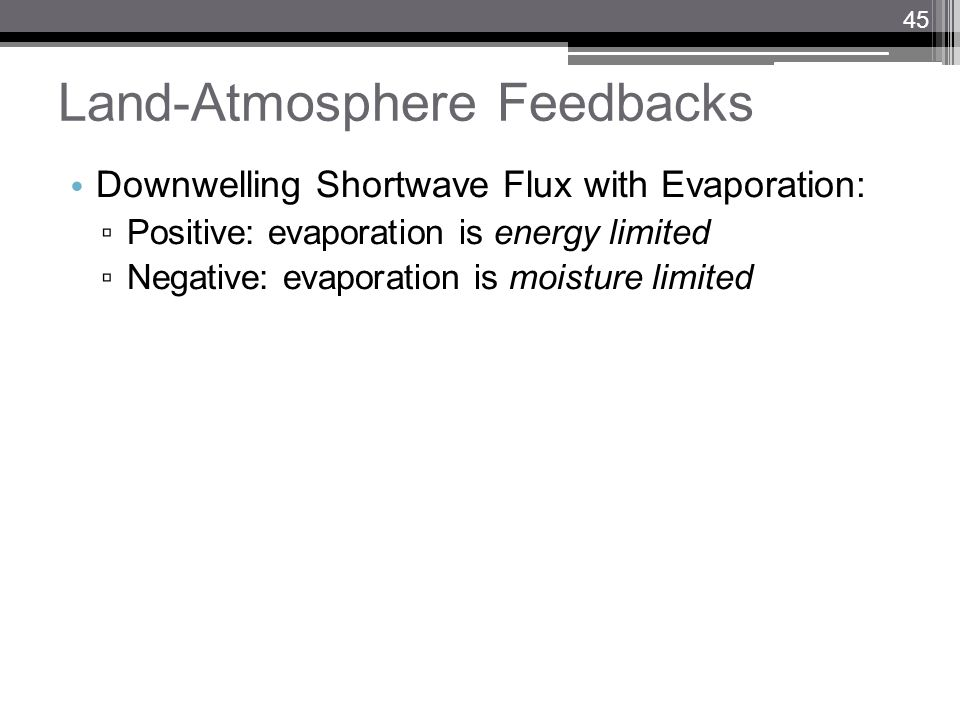 Land-Atmosphere Feedbacks Downwelling Shortwave Flux with Evaporation: Positive: evaporation is energy limited Negative: evaporation is moisture limit
