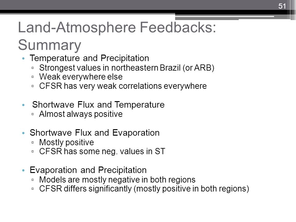 Land-Atmosphere Feedbacks: Summary Temperature and Precipitation Strongest values in northeastern Brazil (or ARB) Weak everywhere else CFSR has very w
