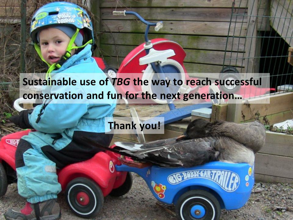 Sustainable use of TBG the way to reach successful conservation and fun for the next generation… Thank you!