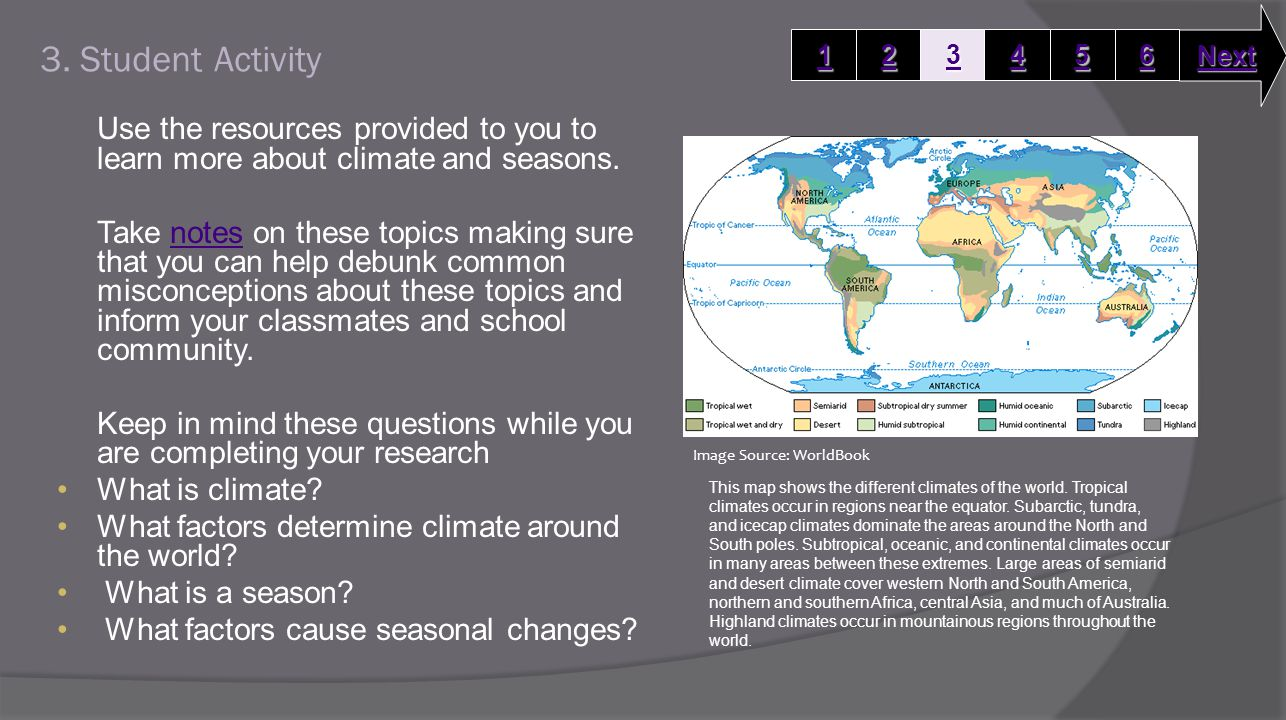 3. Student Activity Use the resources provided to you to learn more about climate and seasons.