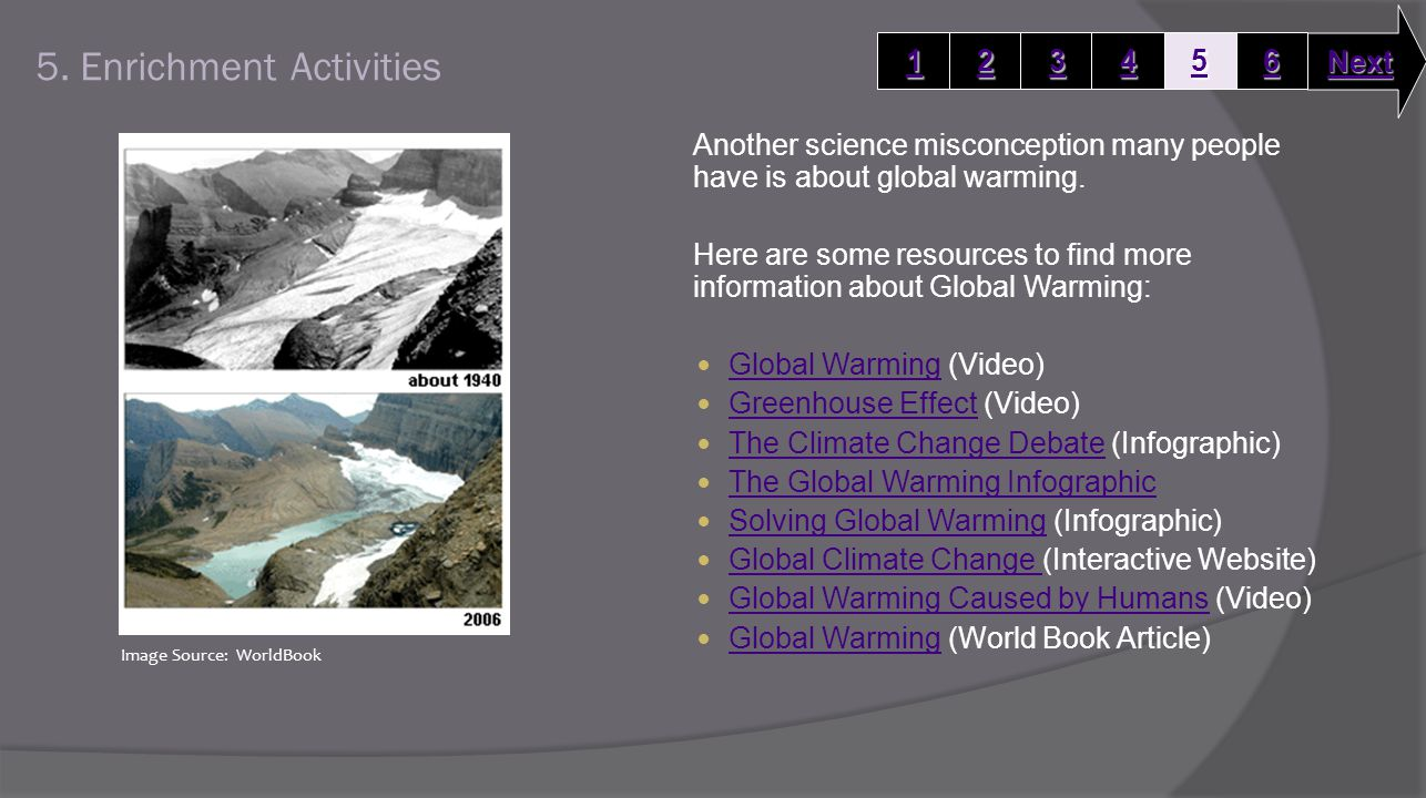 5. Enrichment Activities Another science misconception many people have is about global warming.