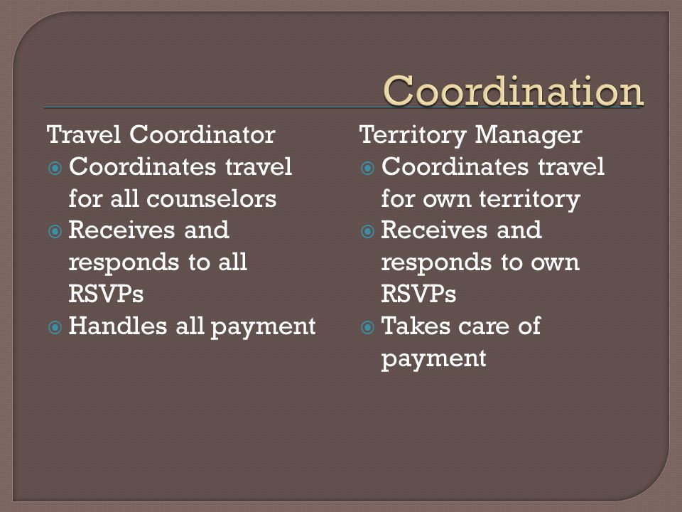Travel Coordinator Coordinates travel for all counselors Receives and responds to all RSVPs Handles all payment Territory Manager Coordinates travel for own territory Receives and responds to own RSVPs Takes care of payment