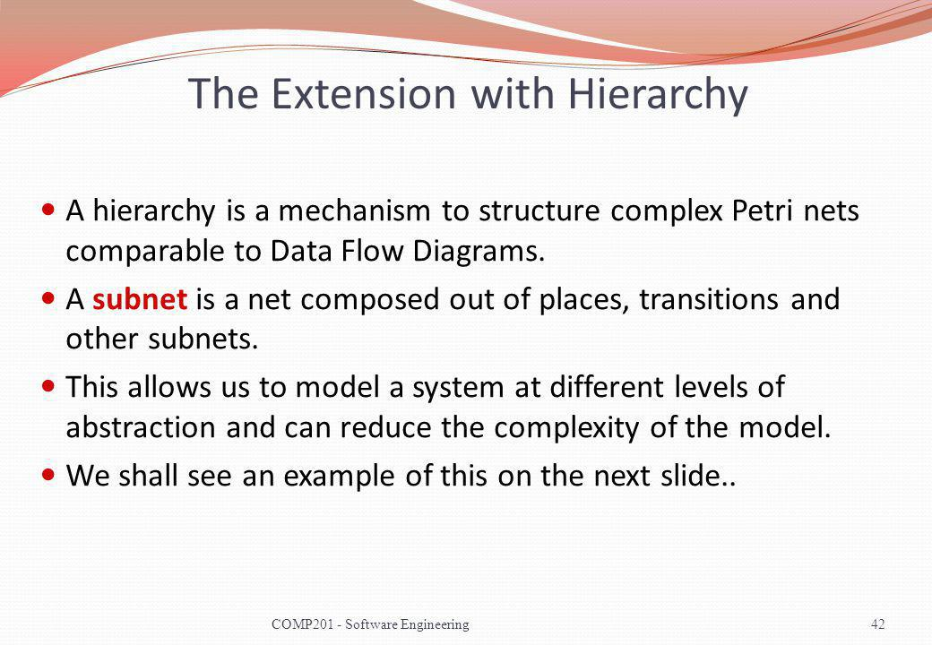 The Extension with Hierarchy A hierarchy is a mechanism to structure complex Petri nets comparable to Data Flow Diagrams.