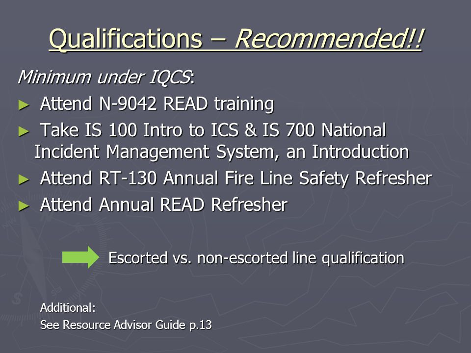 Qualifications – Recommended!.