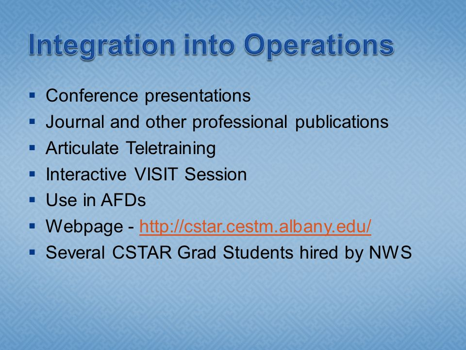 Conference presentations Journal and other professional publications Articulate Teletraining Interactive VISIT Session Use in AFDs Webpage - http://cstar.cestm.albany.edu/http://cstar.cestm.albany.edu/ Several CSTAR Grad Students hired by NWS