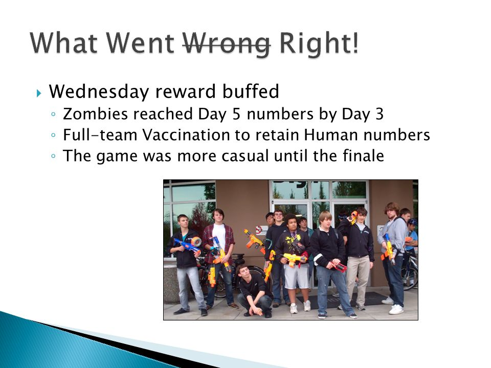 Wednesday reward buffed Zombies reached Day 5 numbers by Day 3 Full-team Vaccination to retain Human numbers The game was more casual until the finale