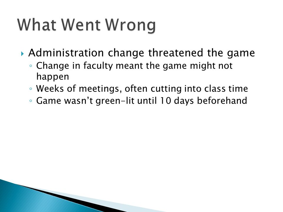 Administration change threatened the game Change in faculty meant the game might not happen Weeks of meetings, often cutting into class time Game wasn