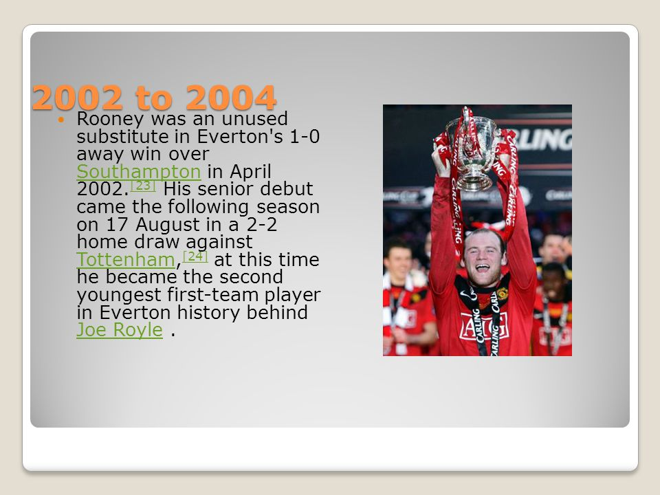 2002 to 2004 2002 to 2004 Rooney was an unused substitute in Everton s 1-0 away win over Southampton in April 2002.