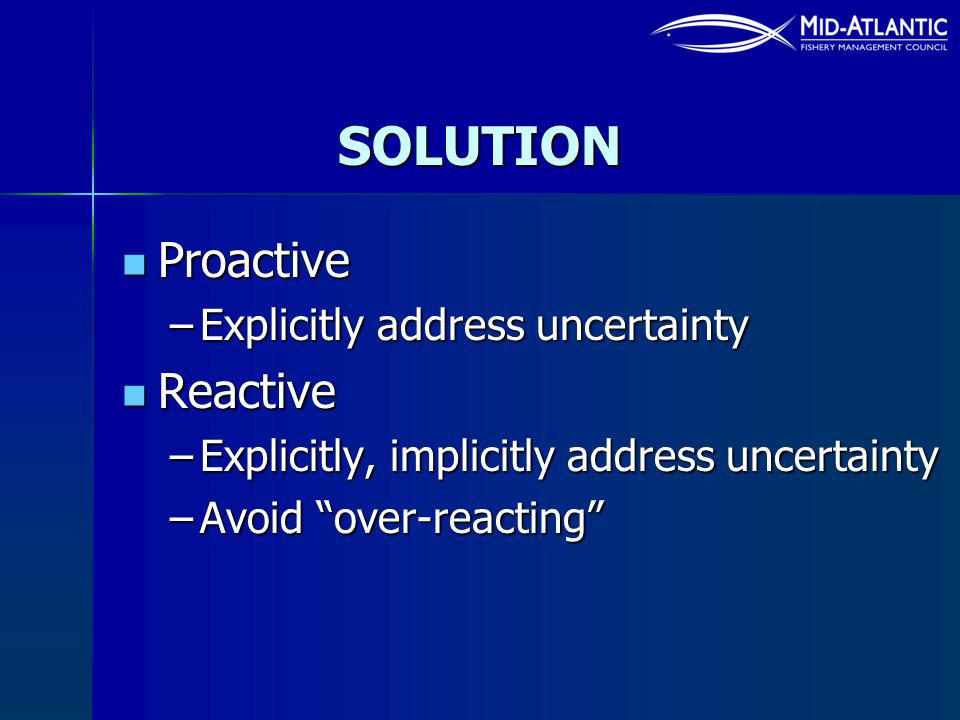 SOLUTION Proactive Proactive –Explicitly address uncertainty Reactive Reactive –Explicitly, implicitly address uncertainty –Avoid over-reacting