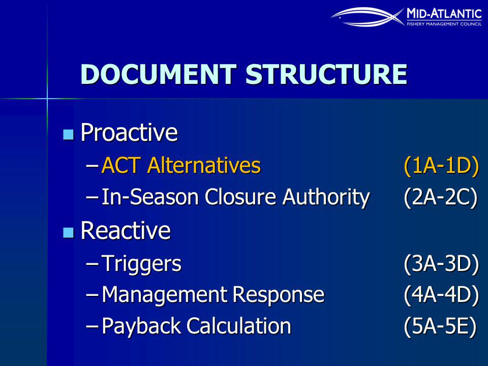 DOCUMENT STRUCTURE Proactive Proactive –ACT Alternatives (1A-1D) –In-Season Closure Authority (2A-2C) Reactive Reactive –Triggers (3A-3D) –Management Response (4A-4D) –Payback Calculation (5A-5E)