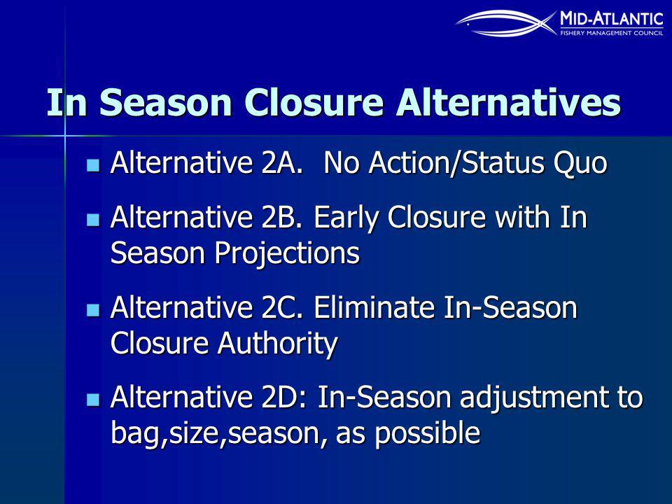 In Season Closure Alternatives Alternative 2A. No Action/Status Quo Alternative 2A.