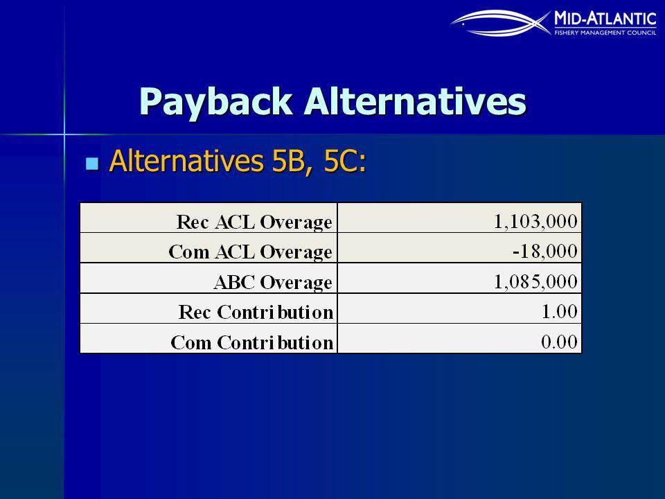 Payback Alternatives Alternatives 5B, 5C: Alternatives 5B, 5C: