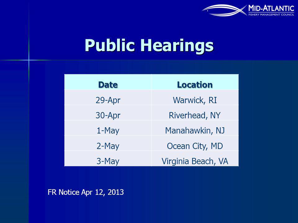 Public Hearings DateLocation 29-AprWarwick, RI 30-AprRiverhead, NY 1-MayManahawkin, NJ 2-MayOcean City, MD 3-MayVirginia Beach, VA FR Notice Apr 12, 2013