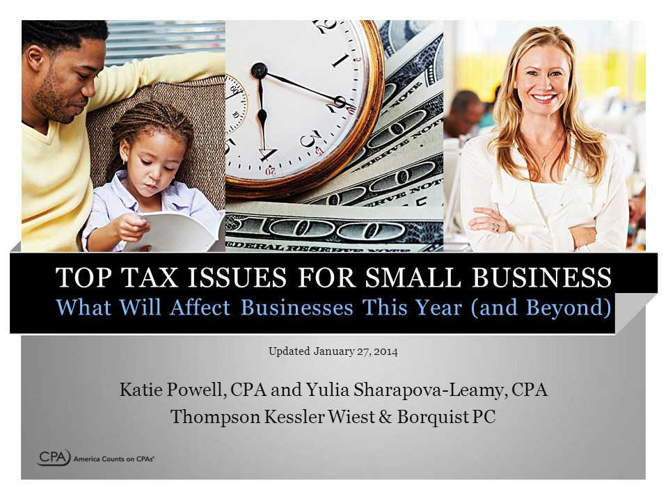 TOP TAX ISSUES FOR SMALL BUSINESS What Will Affect Businesses This Year (and Beyond) Updated January 27, 2014 Katie Powell, CPA and Yulia Sharapova-Leamy, CPA Thompson Kessler Wiest & Borquist PC