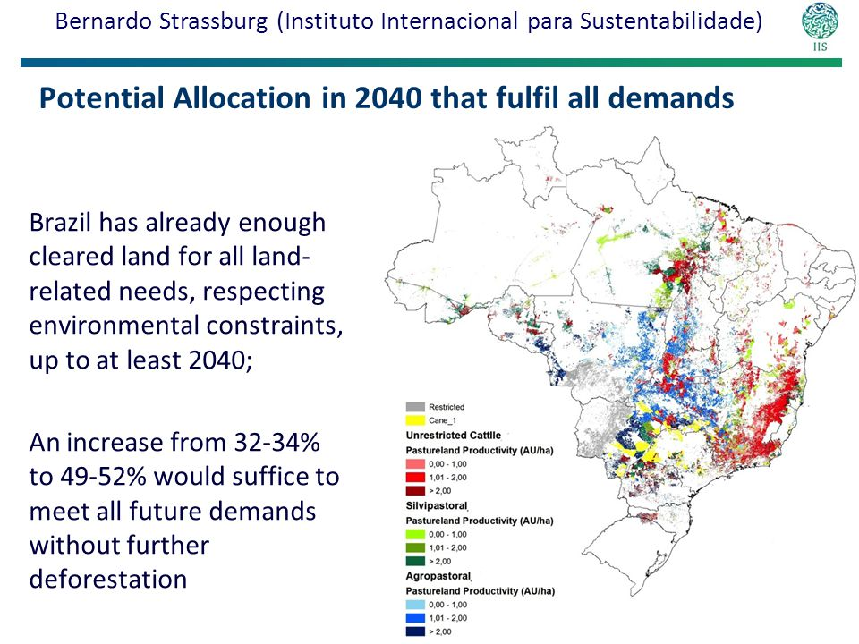 Potential Allocation in 2040 that fulfil all demands Brazil has already enough cleared land for all land- related needs, respecting environmental constraints, up to at least 2040; An increase from 32-34% to 49-52% would suffice to meet all future demands without further deforestation Results Bernardo Strassburg (Instituto Internacional para Sustentabilidade)