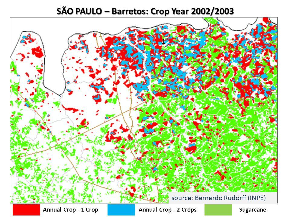 SÃO PAULO – Barretos: Crop Year 2002/2003 1 Annual Crop - 1 CropAnnual Crop - 2 Crops Sugarcane source: Bernardo Rudorff (INPE)