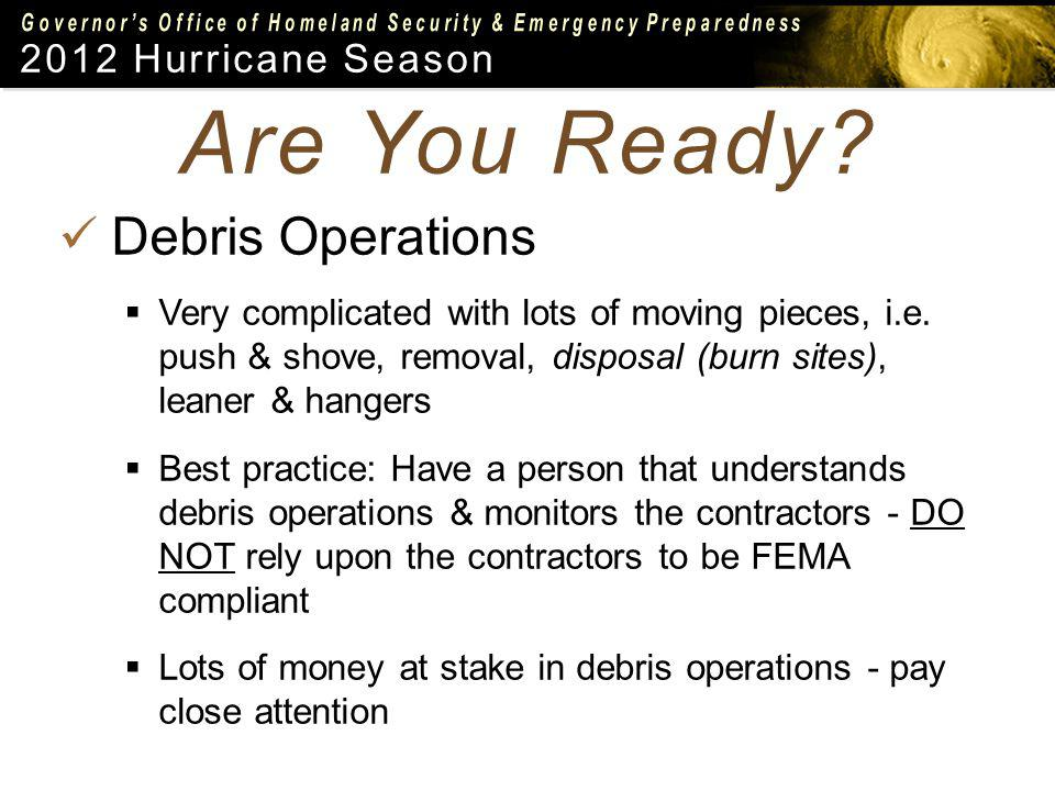 2012 Hurricane Season Debris Operations Very complicated with lots of moving pieces, i.e.
