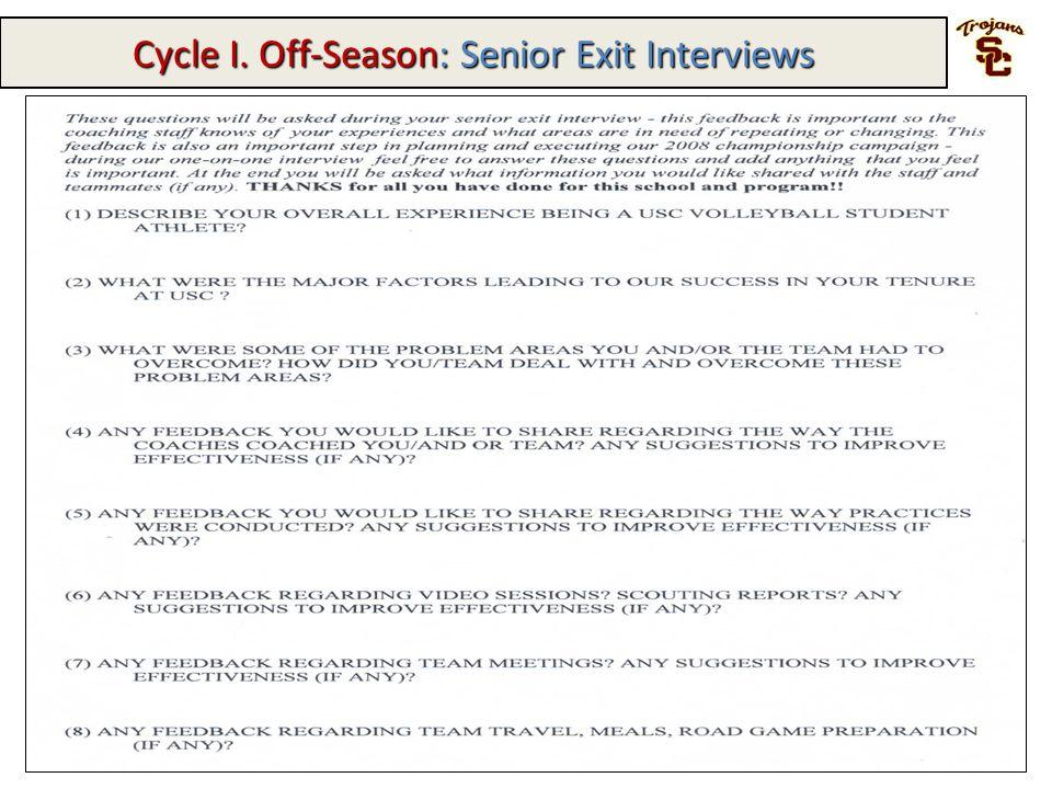 Cycle I. Off-Season: Senior Exit Interviews