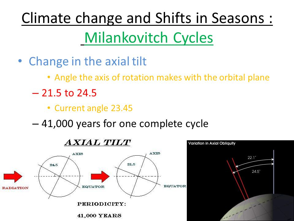 Climate change and Shifts in Seasons : Milankovitch Cycles Change in the axial tilt Angle the axis of rotation makes with the orbital plane – 21.5 to