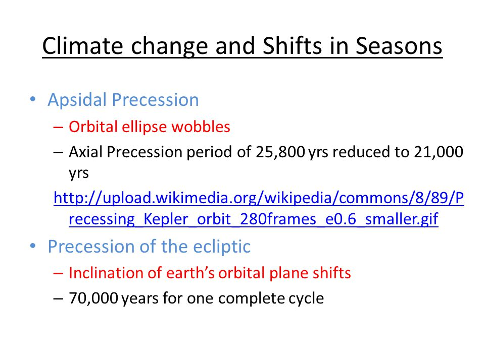 Climate change and Shifts in Seasons Apsidal Precession – Orbital ellipse wobbles – Axial Precession period of 25,800 yrs reduced to 21,000 yrs http:/