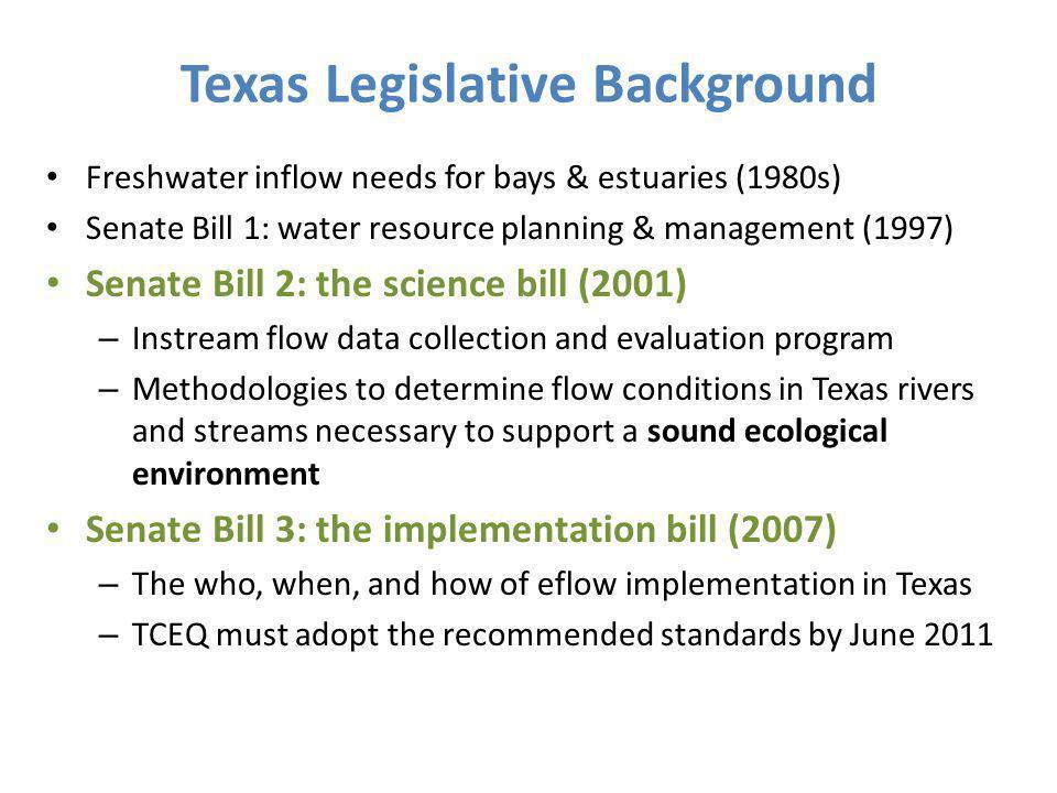 Texas Legislative Background Freshwater inflow needs for bays & estuaries (1980s) Senate Bill 1: water resource planning & management (1997) Senate Bi