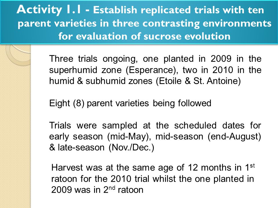 Activity 1.1 - Establish replicated trials with ten parent varieties in three contrasting environments for evaluation of sucrose evolution Three trial