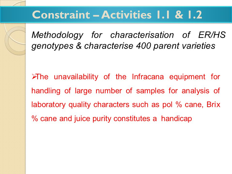 Constraint – Activities 1.1 & 1.2 Methodology for characterisation of ER/HS genotypes & characterise 400 parent varieties The unavailability of the In