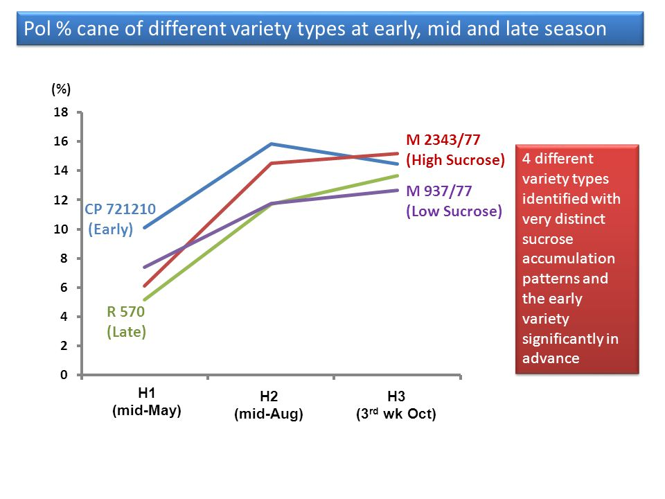 Pol % cane of different variety types at early, mid and late season 4 different variety types identified with very distinct sucrose accumulation patte