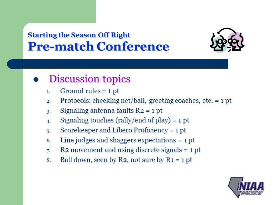 Starting the Season Off Right Pre-match Conference Discussion topics Discussion topics 9.