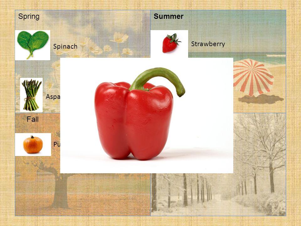 SpringSummer FallWinter Cabbage Spinach Pumpkin Asparagus Strawberry