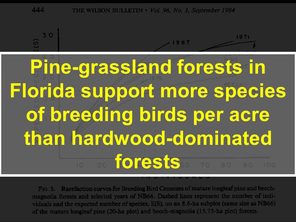 Pine-grassland forests in Florida support more species of breeding birds per acre than hardwood-dominated forests
