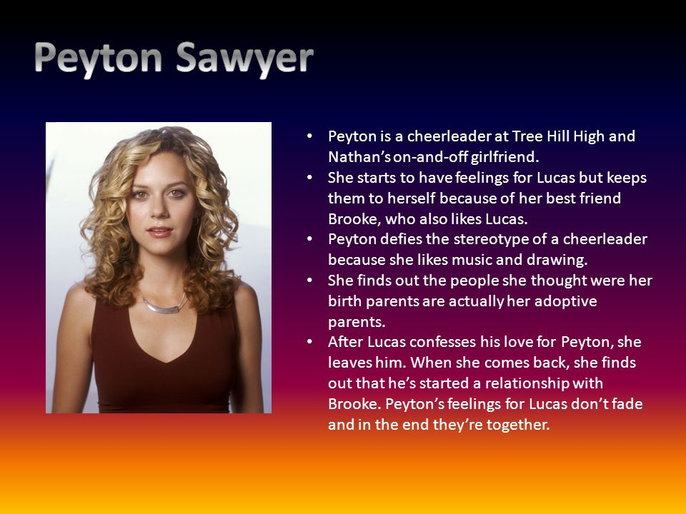 Peyton is a cheerleader at Tree Hill High and Nathans on-and-off girlfriend. She starts to have feelings for Lucas but keeps them to herself because o