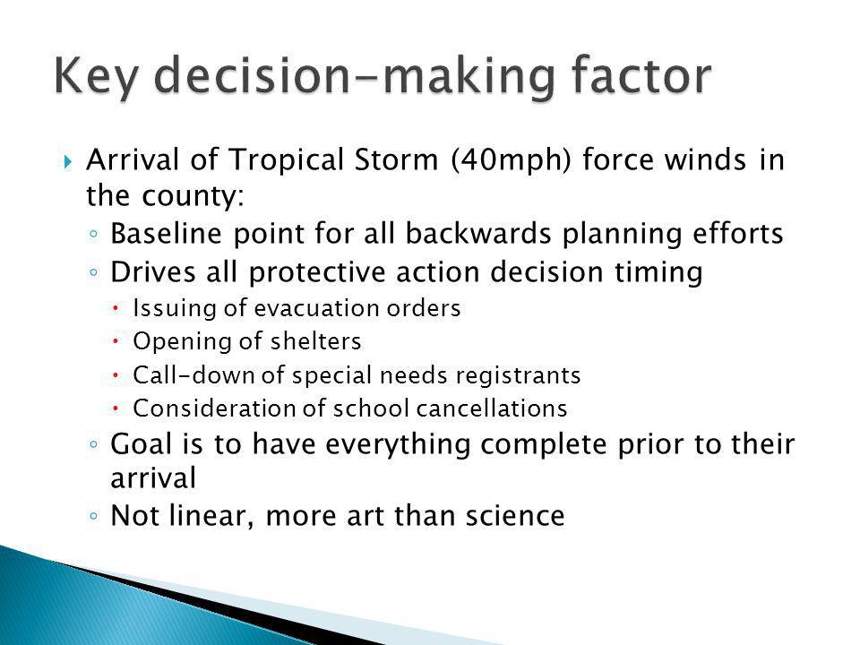 Arrival of Tropical Storm (40mph) force winds in the county: Baseline point for all backwards planning efforts Drives all protective action decision t