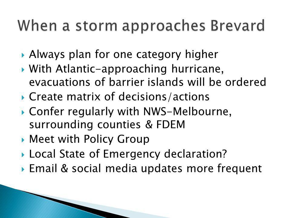 Always plan for one category higher With Atlantic-approaching hurricane, evacuations of barrier islands will be ordered Create matrix of decisions/actions Confer regularly with NWS-Melbourne, surrounding counties & FDEM Meet with Policy Group Local State of Emergency declaration.