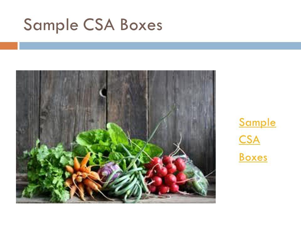 Sample CSA Boxes Sample CSA Boxes