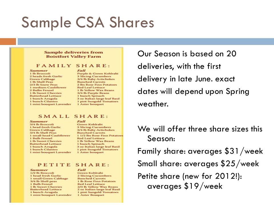 Sample CSA Shares CSA SHARE OPTIONS: Full Season Share: 18 weeks, late-June through late October regular: $522 small: $396 Height of the Season share: 8 weeks, early August through September regular: $304 small: $224 Extended Fall Share: 4 weeks, late October through mid November regular: $110 Late JuneMid AugustEary September 1 bu carrots 2 heads lettuce 1 bu beets or chard dill, cilantro, or parsley 1 bu green onions1 sweet onion 1 kohlrabi1 garlic1 red onion 1 head garlic2 lbs potatoes1 green zucchini 1 bunch garlic scapes1 zucchini1 Italian zucchini 1 lb shell peas1 crookneck 1/2 lb snow peas1 lb green beans1 garlic 1 bu radishes1 pint Sungold tomatoes4 ears corn 1/2 lb broccoli3/4 lbs broccoli4 tomatoes 2 pints strawberries1 slicing cucumber1 lb green beans 1 oz basil1 cabbage 1 bu kale 1 eggplant CSA SHARE DESCRIPTIONS: FULL SEASON SHARE: We offer two share sizes.