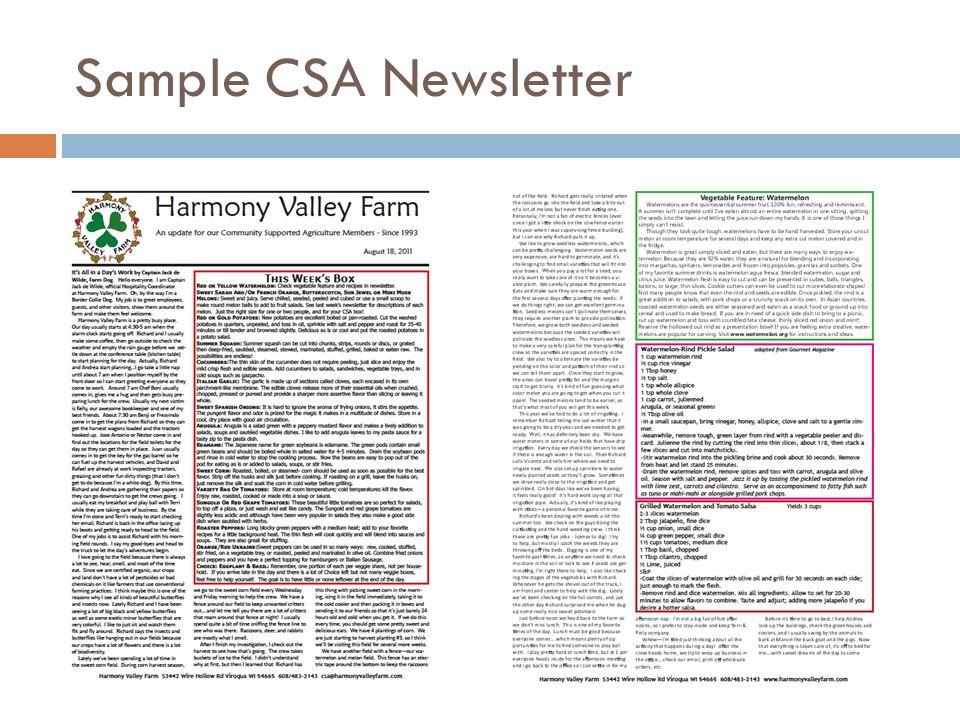 Sample CSA Newsletter