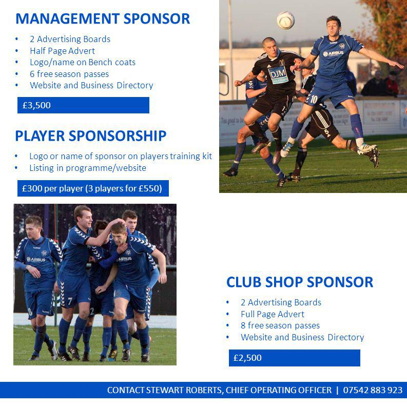 MANAGEMENT SPONSOR 2 Advertising Boards Half Page Advert Logo/name on Bench coats 6 free season passes Website and Business Directory £3,500 PLAYER SPONSORSHIP Logo or name of sponsor on players training kit Listing in programme/website £300 per player (3 players for £550) CLUB SHOP SPONSOR 2 Advertising Boards Full Page Advert 8 free season passes Website and Business Directory £2,500 CONTACT STEWART ROBERTS, CHIEF OPERATING OFFICER | 07542 883 923