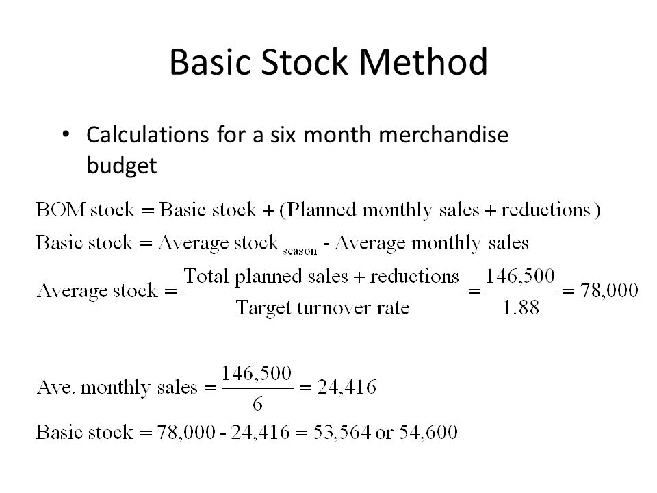 Basic Stock Method Calculations for a six month merchandise budget