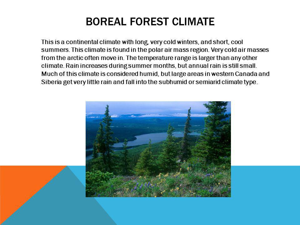 BOREAL FOREST CLIMATE This is a continental climate with long, very cold winters, and short, cool summers. This climate is found in the polar air mass