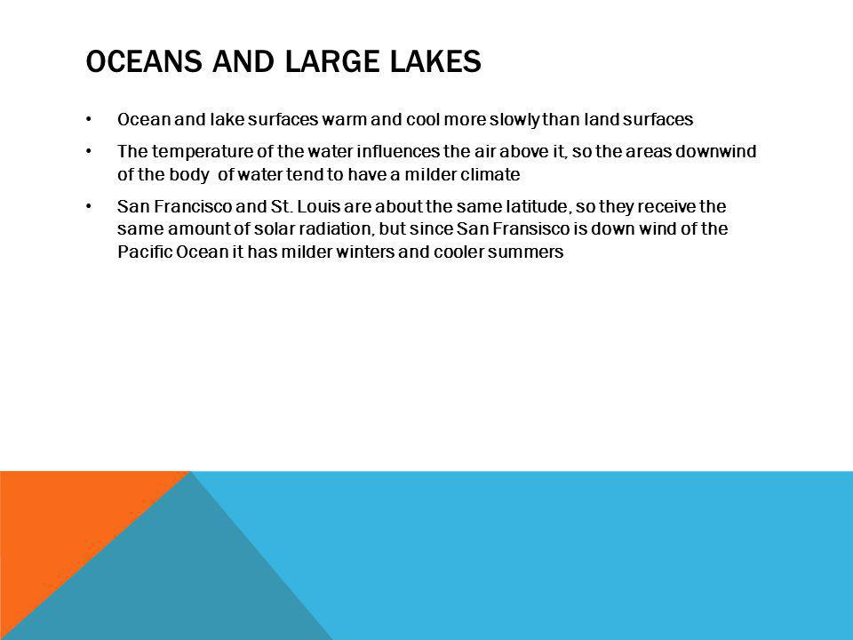 OCEANS AND LARGE LAKES Ocean and lake surfaces warm and cool more slowly than land surfaces The temperature of the water influences the air above it,